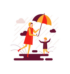 Rainy day - colorful flat design style vector
