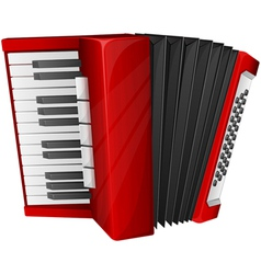 Red accordion isolated on white vector