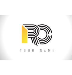 Ro black lines letter logo creative line letters vector