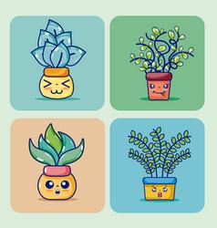 set of cute houseplants cartoon on colorful frames vector image