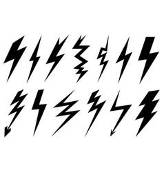 Set of different lightning bolts vector