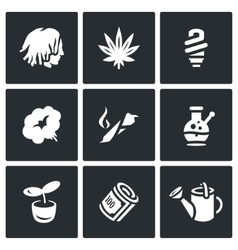 Set of Rastaman Icons Dreadlocks vector