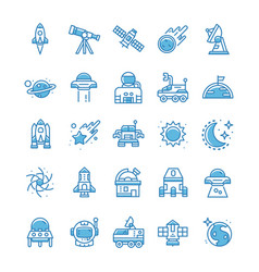 Set space icons with blue style vector