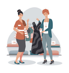 Shop assistant helps woman choose new fashion vector