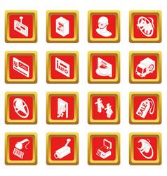 Shop navigation foods icons set red square vector