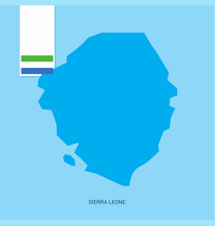 sierra leone country map with flag over blue vector image