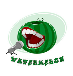 singing watermelon on white vector image