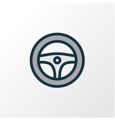 Steering wheel colorful outline symbol premium vector
