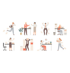 stressed business people busy office workers vector image