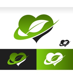 Swoosh Green Heart Logo with Leaf Symbol vector