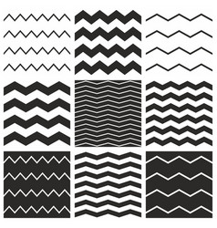 Tile chevron pattern set with black zig zag vector