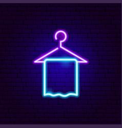 Towel neon sign vector