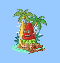 watermelon summer surfing grap vector image