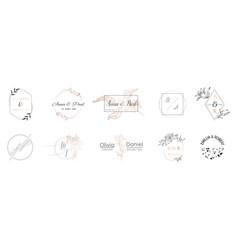 wedding monogram collection invitation cards vector image
