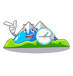 With clock miniature mountain in the character vector