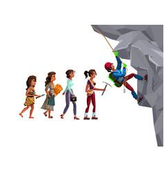 Woman evolution time line cartoon vector