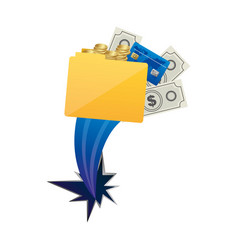 Yellow file with money and hole icon vector