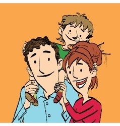 Family mom dad and son vector image vector image