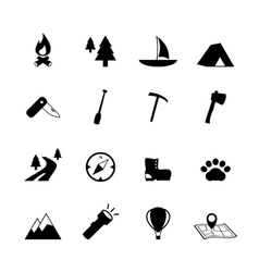 Outdoors tourism camping pictograms vector image vector image
