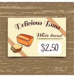Price Tag Design White Bread vector image vector image