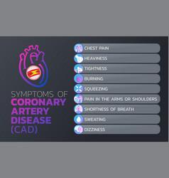 symptoms of coronary artery disease cad icon vector image