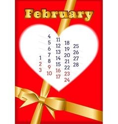 Valentine calendar for February 2013 vector image vector image