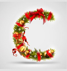 christmas font letter c of christmas tree vector image