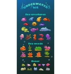 Cute cartoon underwater icons set vector image vector image