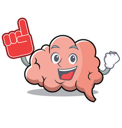 foam finger brain character cartoon mascot vector image vector image