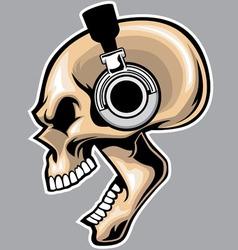 screaming skull wearing headphone vector image vector image