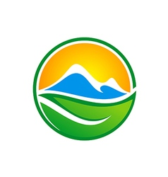 Abstract mountain green leaf nature logo vector