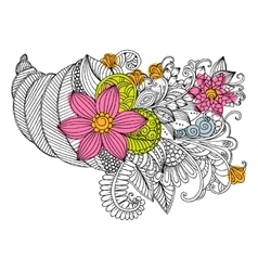 doodle bouquet of flowers in shell vector image vector image