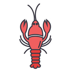 lobster flat line concept vector image vector image