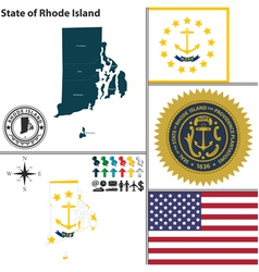 Map of Rhode Island with seal vector image vector image