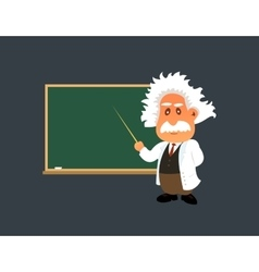 Old professor is showing lesson on the green board vector image