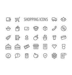 outline shopping icons set vector image vector image