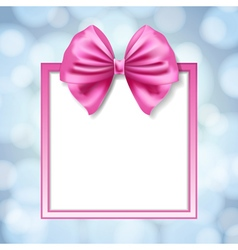 pink bow and square box frame vector image