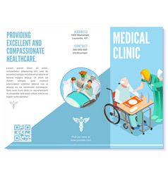trifold brochure medical clinic template hospital vector image