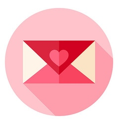 Valentine Day Love Envelope with Heart Circle Icon vector image