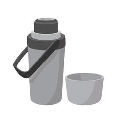 Grey thermos cartoon icon vector image