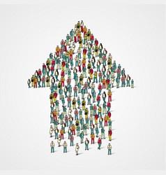 large group of people in the form of arrow vector image vector image