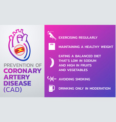 prevention of coronary artery disease cad icon vector image