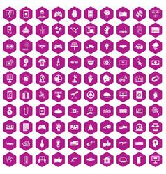 100 hi-tech icons hexagon violet vector