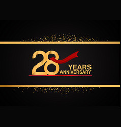 28 years anniversary logotype with golden color vector