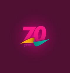 70 years anniversary celebration purple ribbon vector