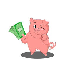 a cute little pig keeps a stack of money vector image