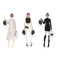 beautiful wealthy girl shopping brand name eps10 v vector image
