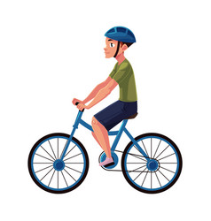 bicycle cycle bike rider cyclist wearing helmet vector image