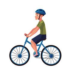 Bicycle cycle bike rider cyclist wearing helmet vector