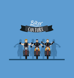 biker culture poster with motorcyclists gang in vector image